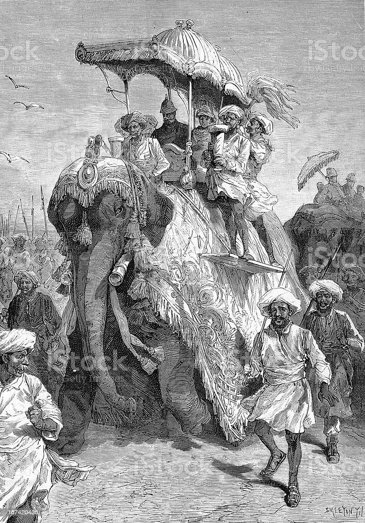 Prince of Wales on elephant entering Baroda royalty-free stock vector art