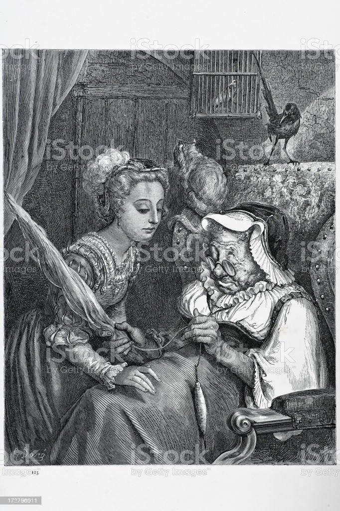 Princess and the fairy spite vector art illustration