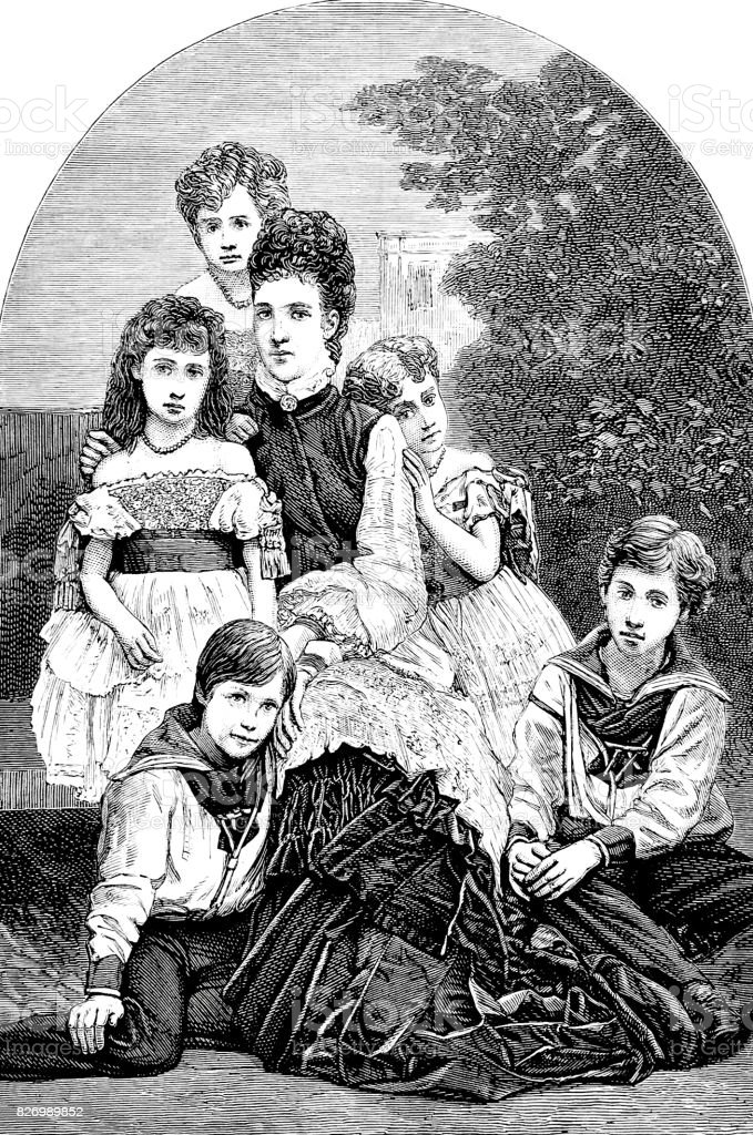 Princess of wales and her children, sitting outdoor in nature vector art illustration