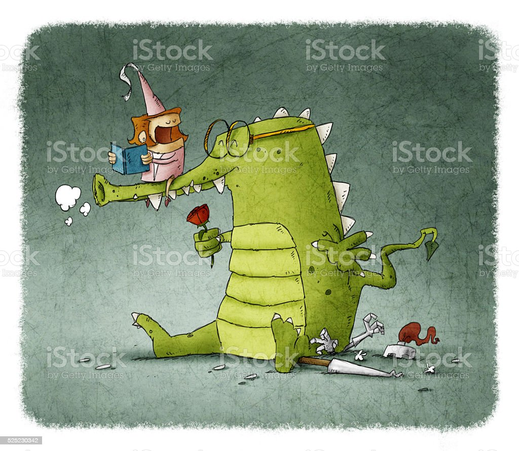 Princess reading book to dragon with rose vector art illustration