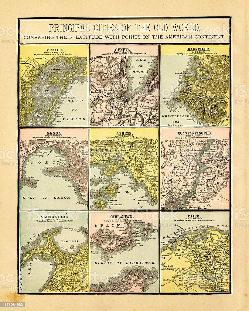 principal cities of the old world 1883 vector art illustration