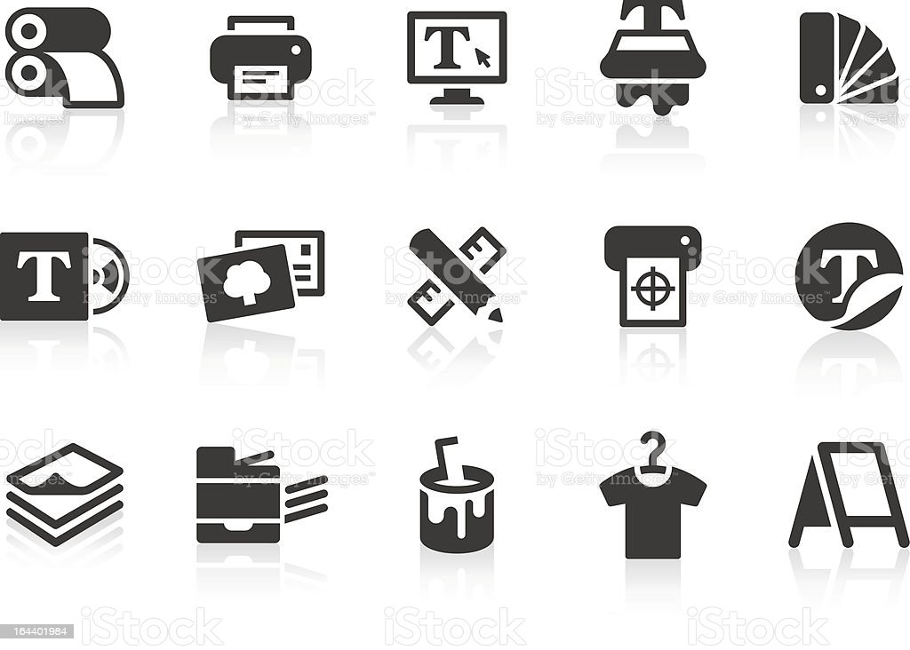 Print icons vector art illustration