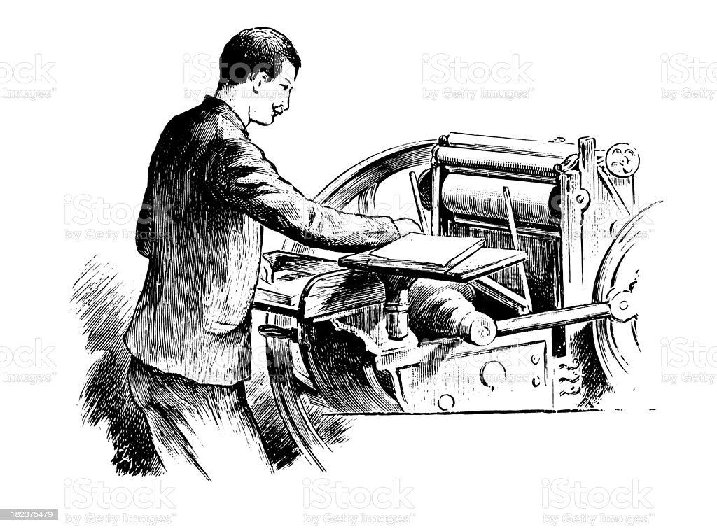 Printer | Antique Design Illustrations royalty-free stock vector art