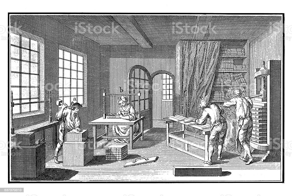 Printing Industry: Bookbinding (antique engraving) stock photo