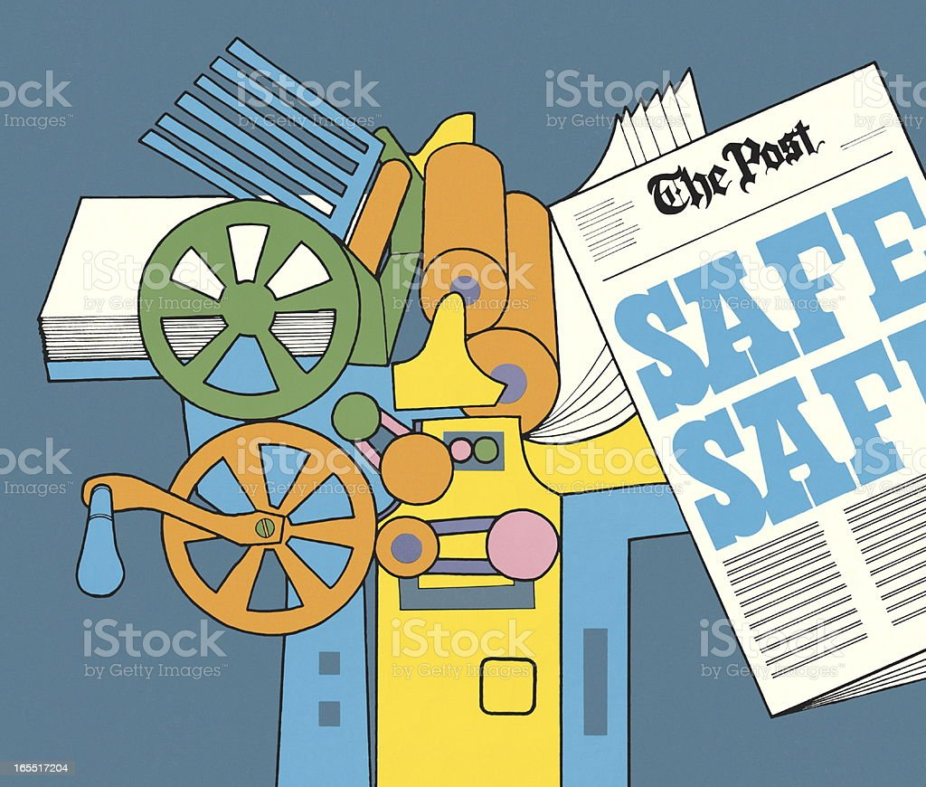 Printing Press and Newspaper royalty-free stock vector art