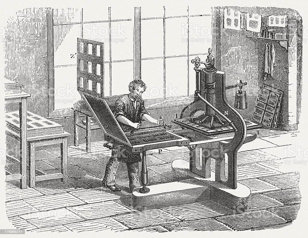 Printing press, c.1800, by Charles Stanhope, wood engraving, published 1876 vector art illustration