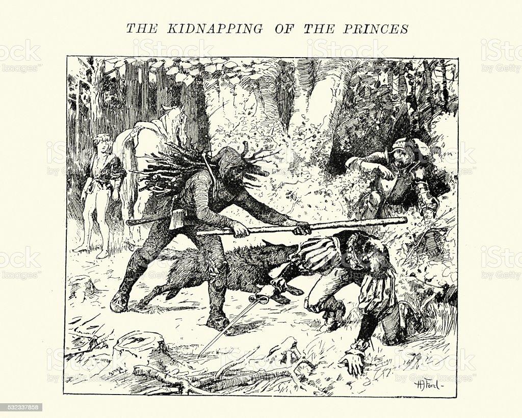 Prinzenraub - Kidnapping of the Princes vector art illustration