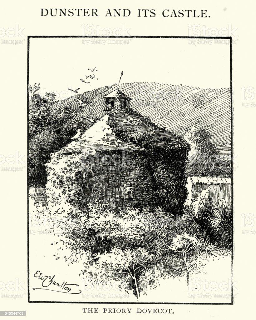 Priory Dovecot, Dunster, 1892 vector art illustration