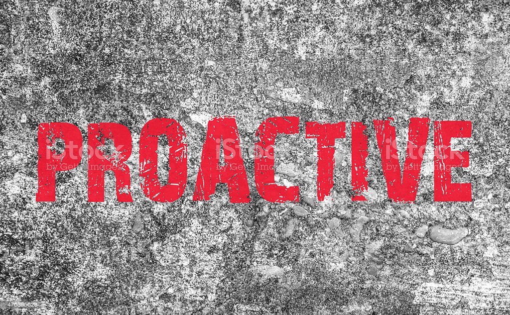 Proactive Concept text on grunge background and texture vector art illustration