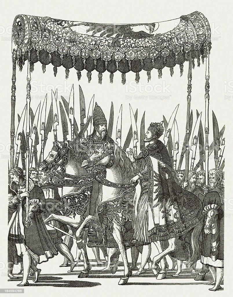 Procession of Charles V after his coronation, 1530, published 1881 vector art illustration