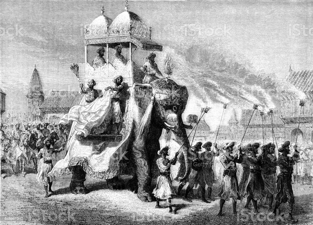 Procession of the Gaekwad of Baroda with elephant howdar vector art illustration