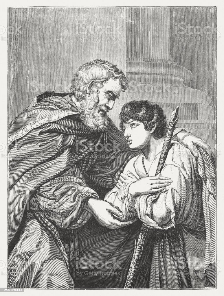 Prodigal Son, wood engraving after Leonello Spada, published 1855 vector art illustration