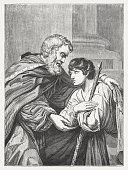 Prodigal Son, wood engraving after Leonello Spada, published 1855
