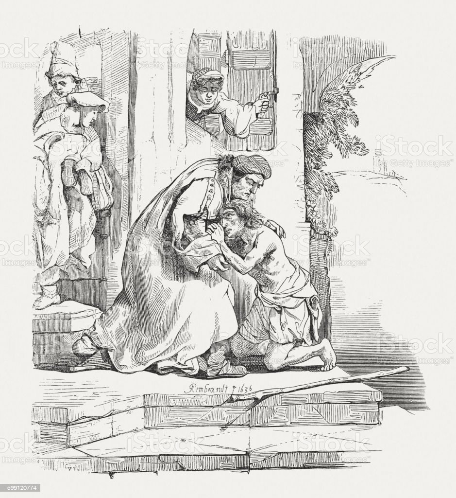 Prodigal Son (Luke 15), wood engraving after Rembrandt, published 1855 vector art illustration