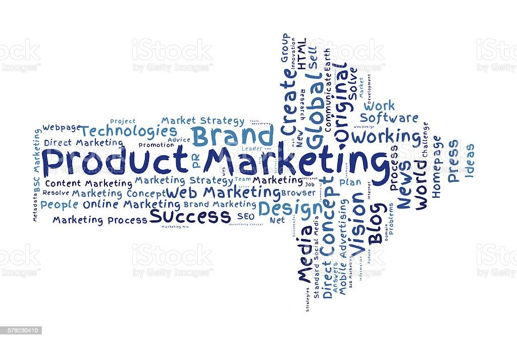 Product Marketing word cloud stock photo
