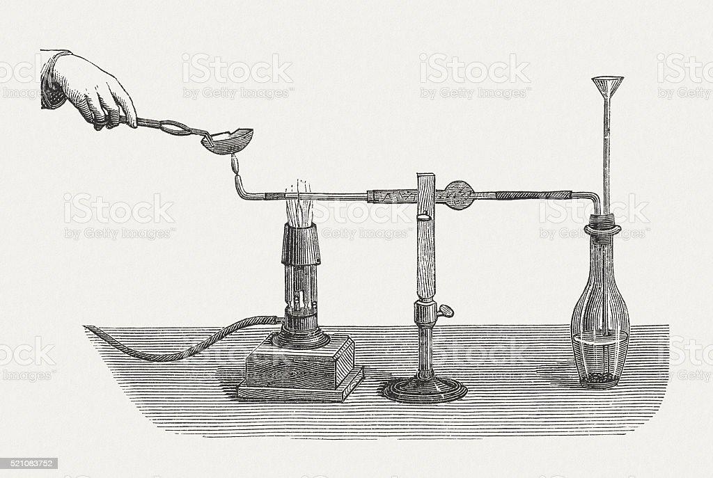 Production of arsine, wood engraving, published in 1880 vector art illustration