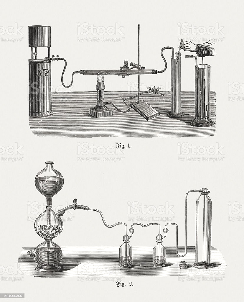 Production of carbon dioxide, wood engravings, published in 1880 vector art illustration