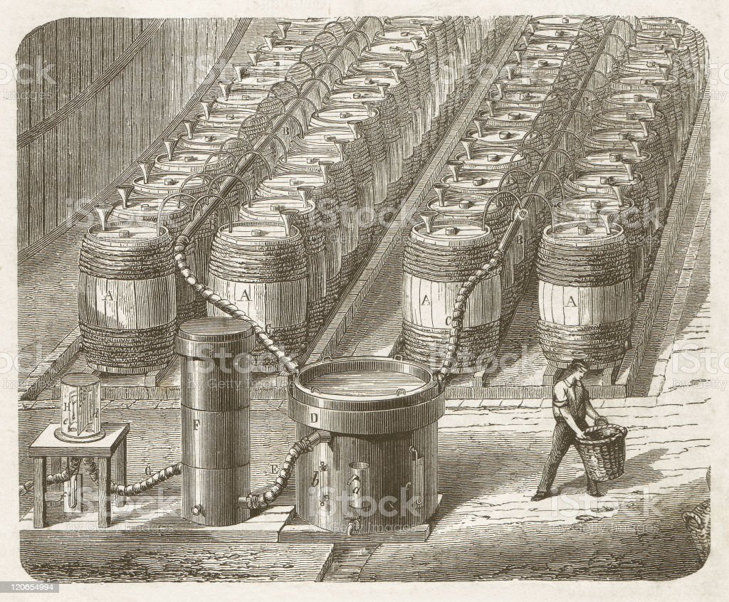 Production of hydrogen for balloons, wood engraving, published in 1877 vector art illustration