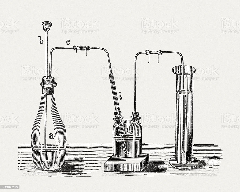 Production of hydrogen sulfide, wood engraving, published in 1880 vector art illustration