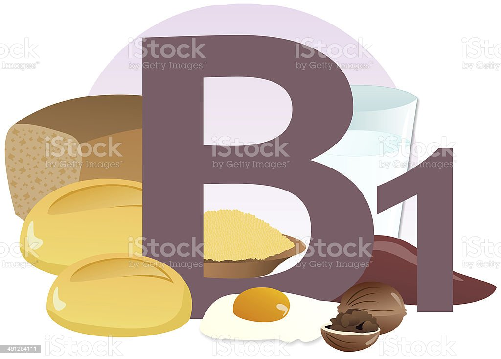 products containing vitamin B1 vector art illustration
