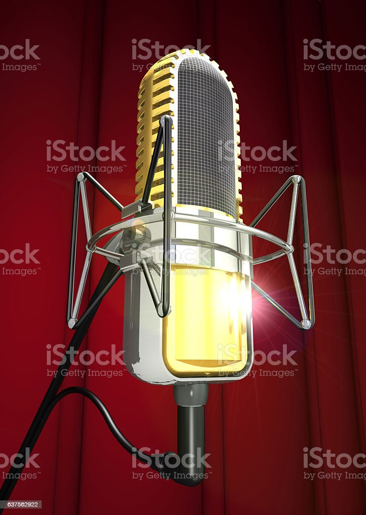 Professional microphone is on the antishock stand (3d illustration). vector art illustration