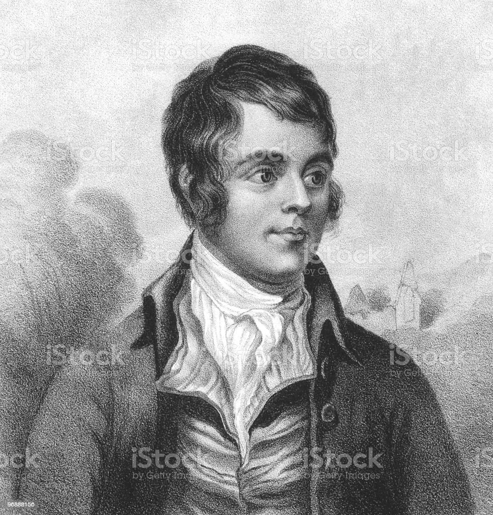Professional pencil sketch on canvas of Robert Burns royalty-free stock vector art