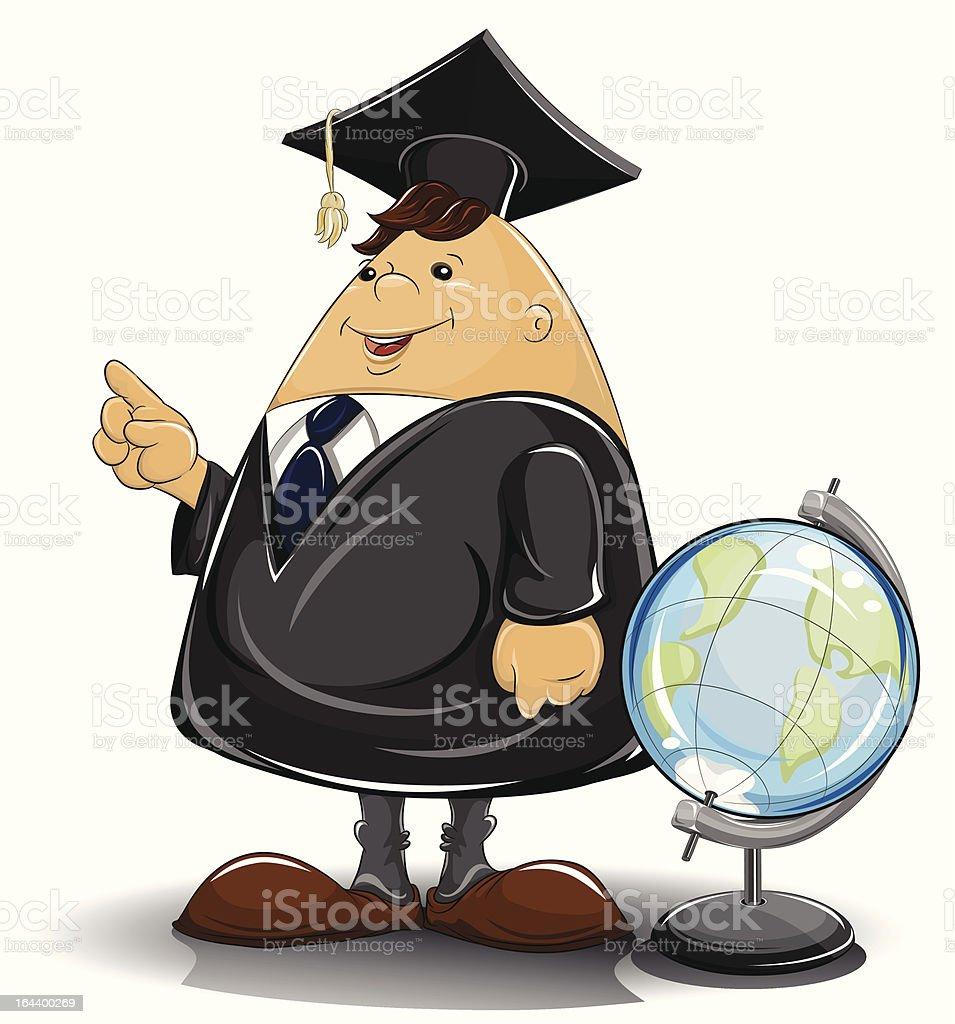 professor in cloak with globe royalty-free stock vector art