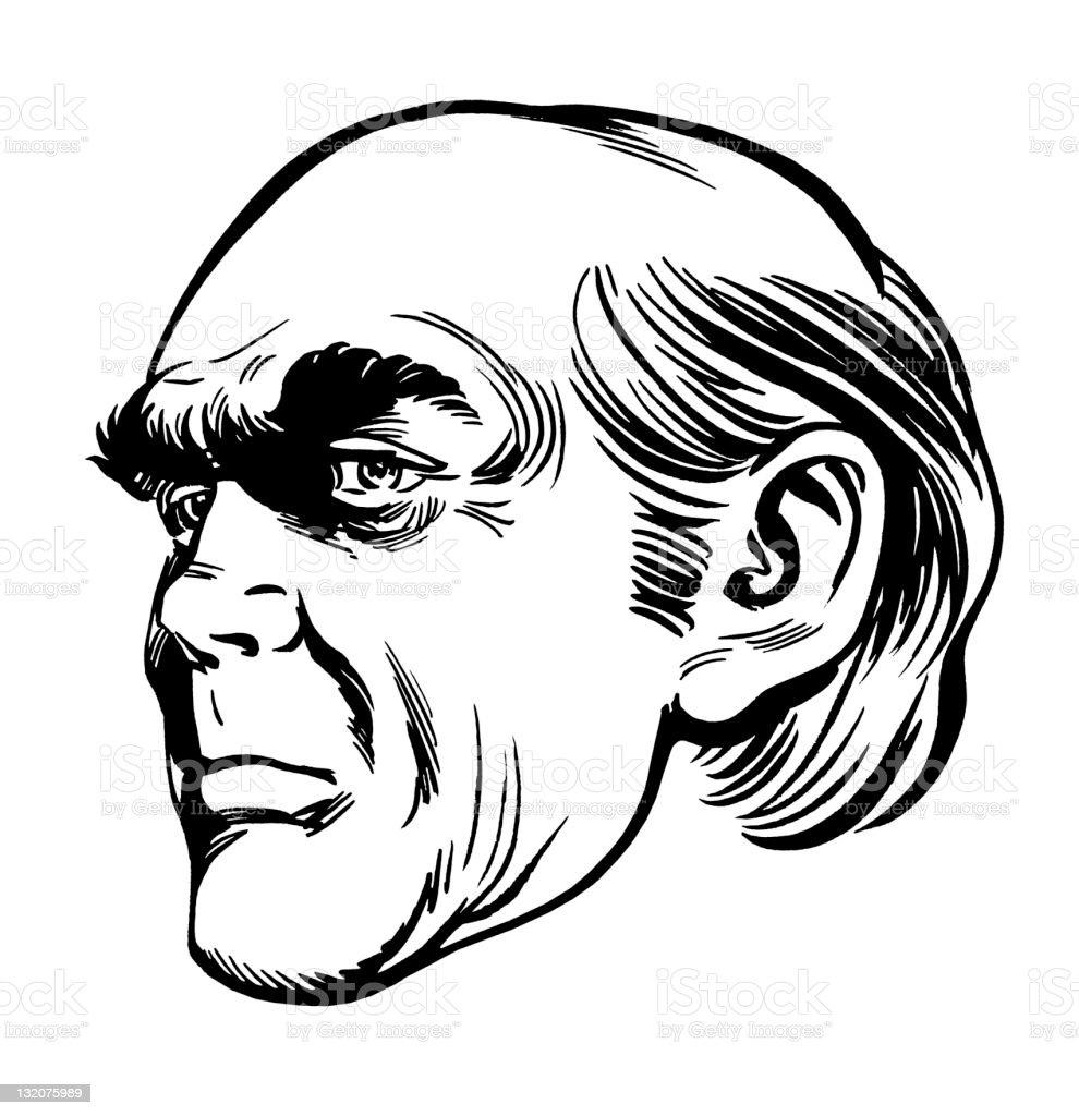 Profile of Creepy Bald Man royalty-free stock vector art