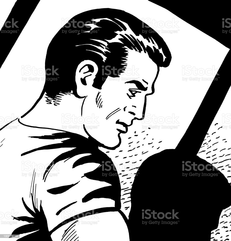 Profile of Dark Haired Man royalty-free stock vector art