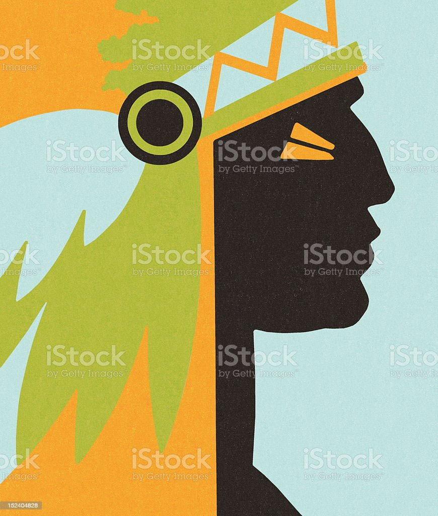 Profile of Indian Chief vector art illustration
