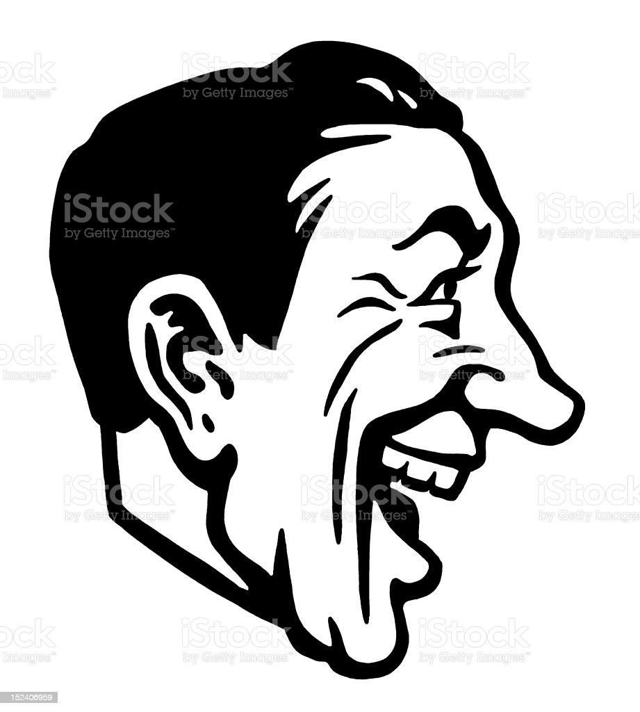 Profile of Laughing Man royalty-free stock vector art
