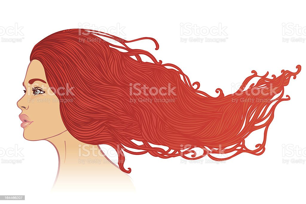 Profile view of woman  with long beautiful red hair royalty-free stock vector art