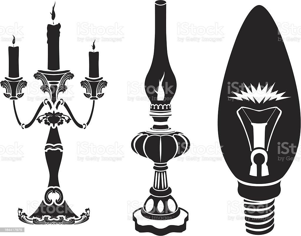 Progress of lighting devices royalty-free stock vector art