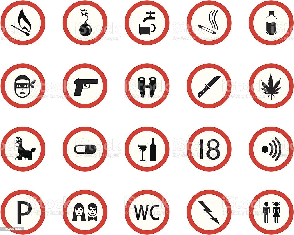 Prohibitive and mandatory public signs royalty-free stock vector art