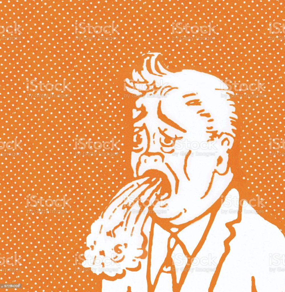 Projectile vomit vector art illustration