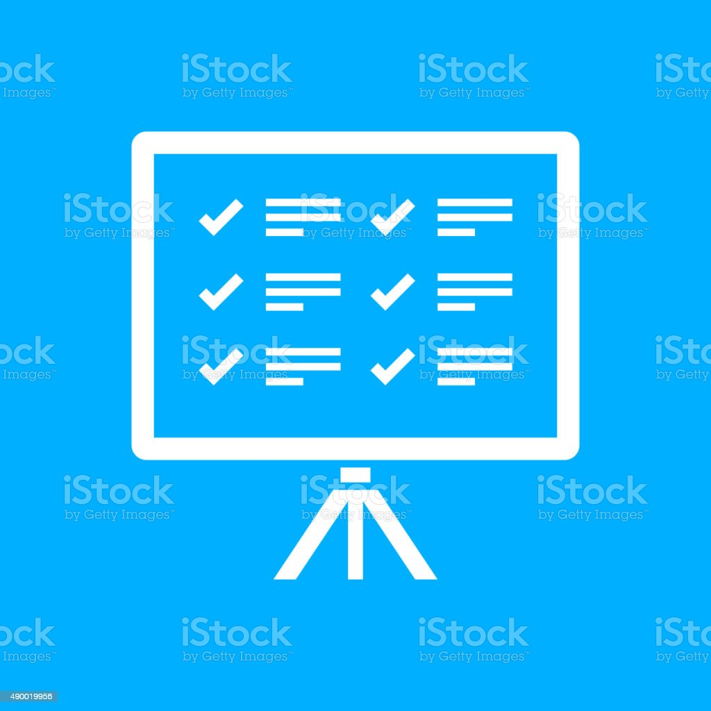 Projection Screen icon on a blue background. - Smooth Series vector art illustration