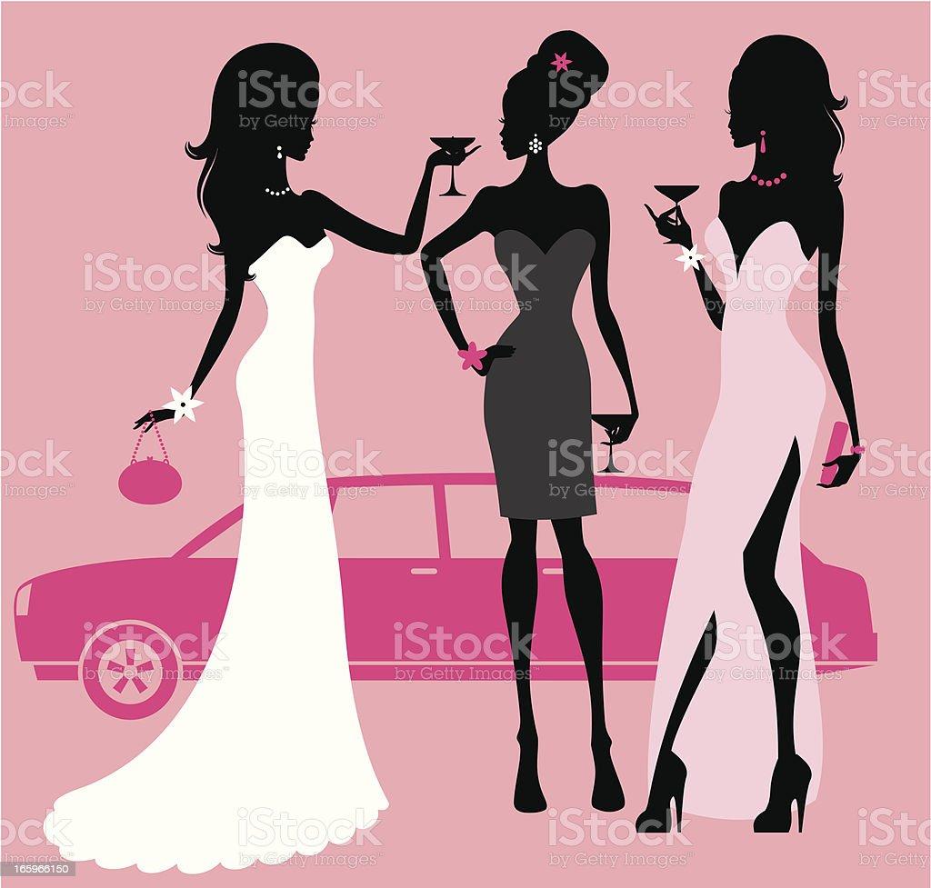 Prom Night Girls vector art illustration