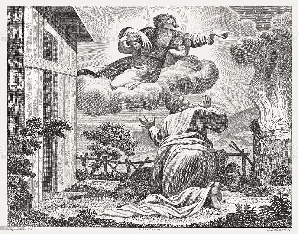 Promise to Abram (Genesis 15), steel engraving, published in 1841 vector art illustration