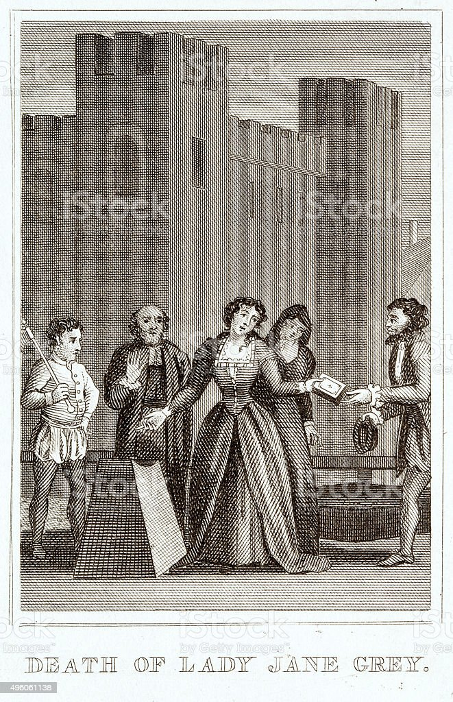 Prosecution of Lady Jane Grey in England vector art illustration