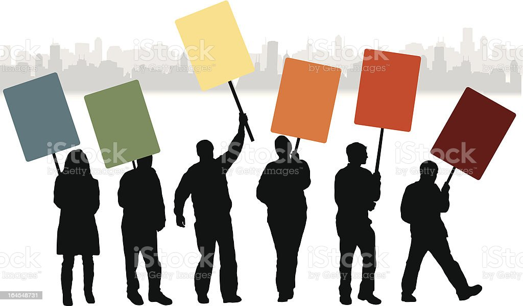 Protest People vector art illustration