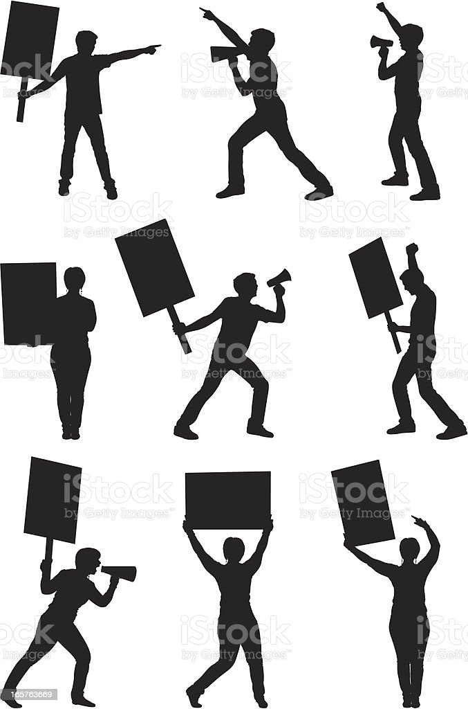 Protesters protesting with picket signs and megaphones royalty-free stock vector art