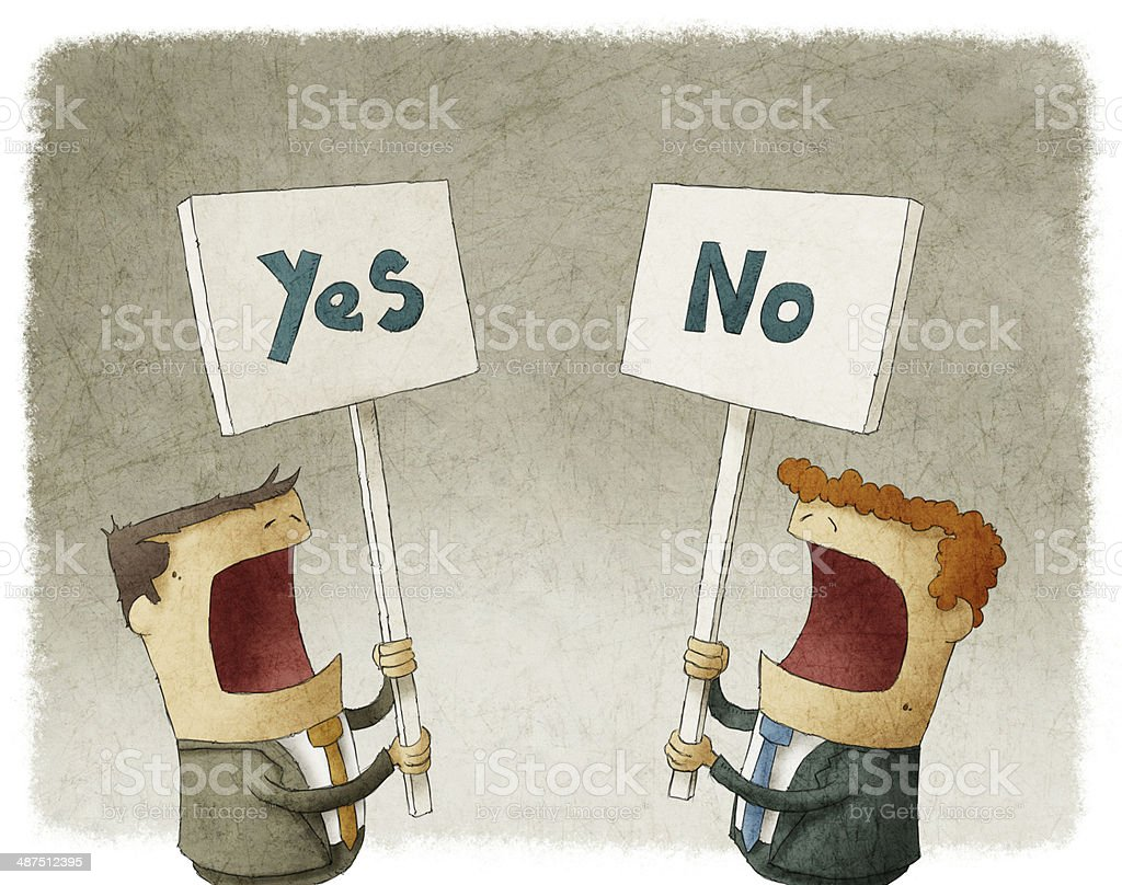 protesting with different opinions vector art illustration