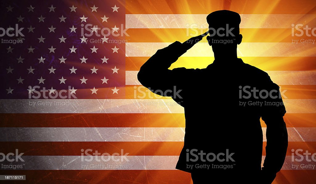 Proud saluting male army soldier on american flag background royalty-free stock vector art