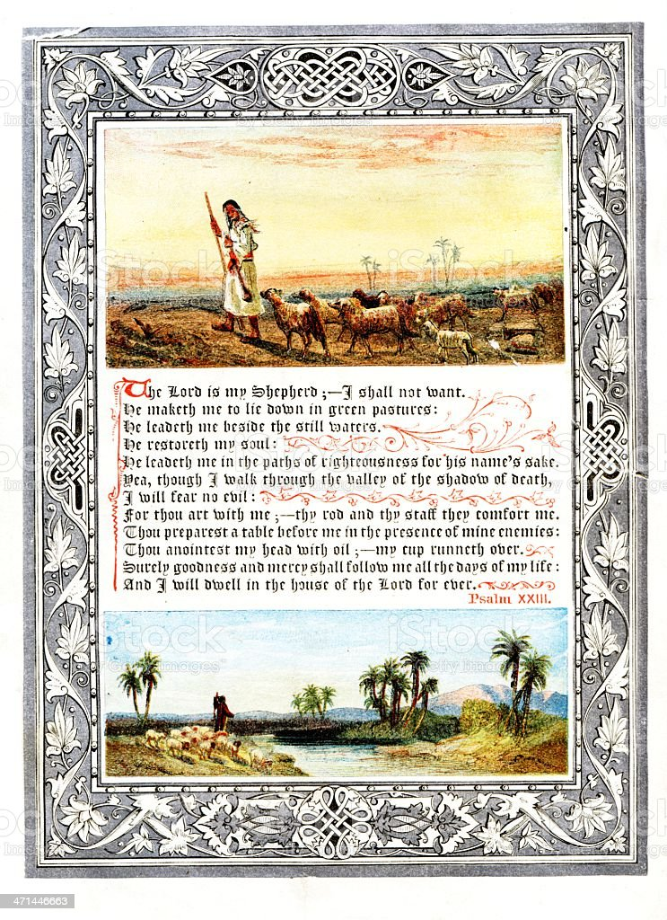 Psalm 23 illustrated text from 1880 journal vector art illustration