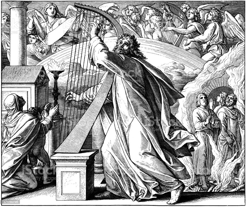 Psalmist David: Praise & Thanks vector art illustration