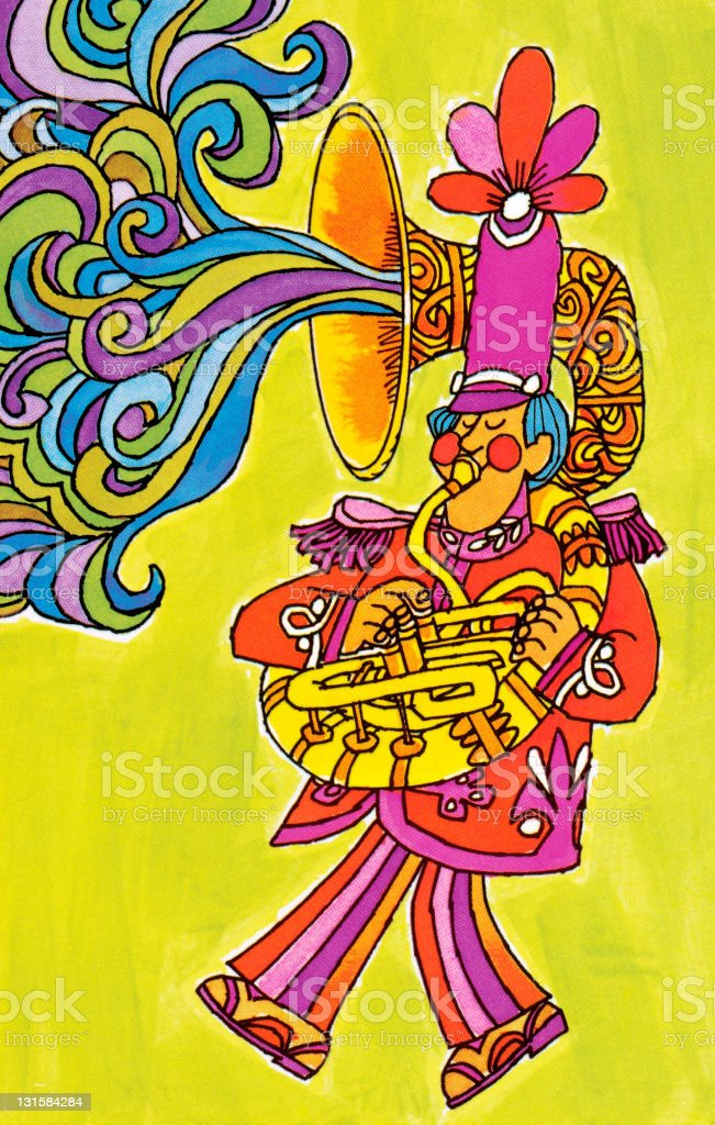 Psychedelic French Horn Player royalty-free stock vector art