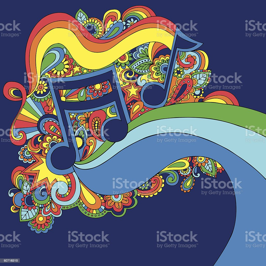 Psychedelic Groovy Vector Music Notes Illustration vector art illustration