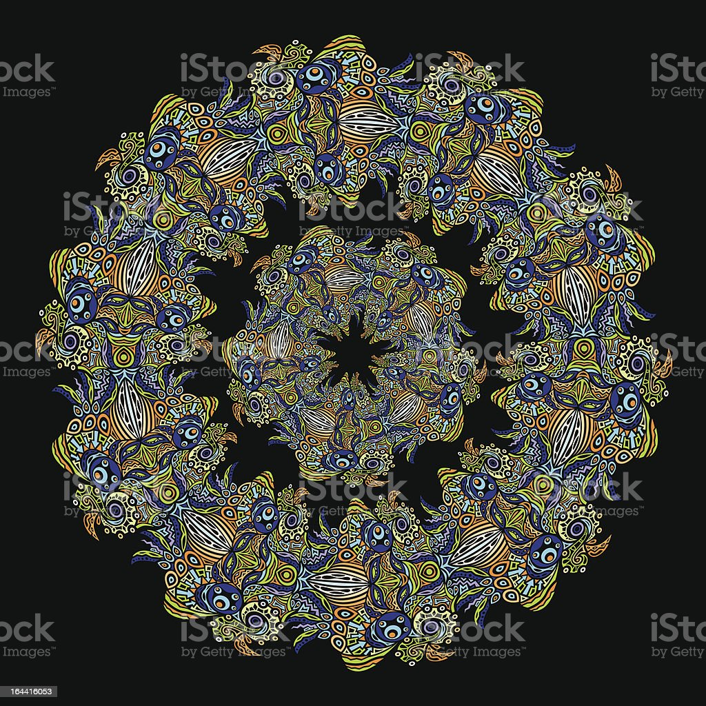 Psychedelic ornament vector circle royalty-free stock vector art