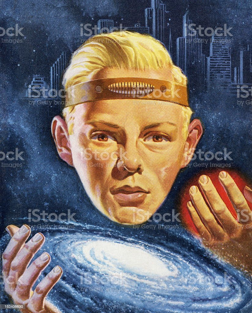 Psychic Boy Wearing Head Band vector art illustration