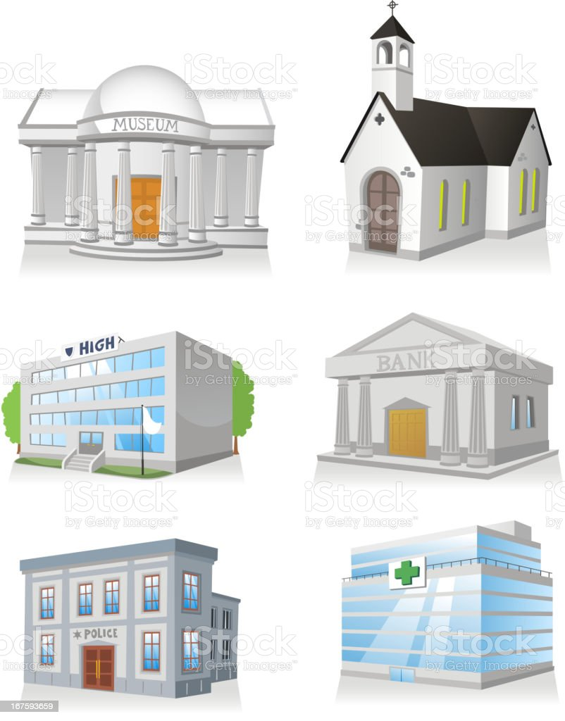 Public building church hospital police station museum school bank royalty-free stock vector art